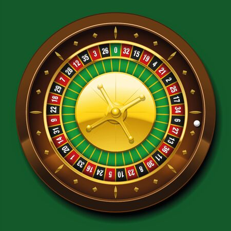numbering: Roulette wheel with french numbering sequence. Vector illustration on green background. Illustration