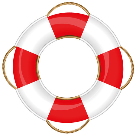 Lifebuoy  isolated vector illustration on white background.