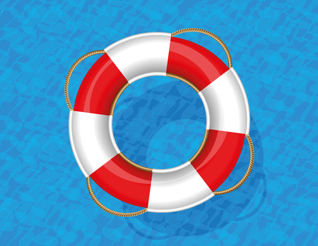 Lifebuoy floating on blue water. Vector illustration. Vector