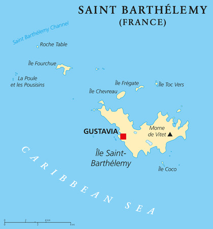 labeling: Saint Barthelemy political map with capital Gustavia also called St. Barts or St. Barths is an overseas collectivity of France. English labeling and scaling. Illustration. Illustration