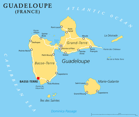 guadeloupe: Guadeloupe Political Map with capital BasseTerre an overseas region of France located in the Leeward Islands part of the Lesser Antilles in the Caribbean. English labeling and scaling.