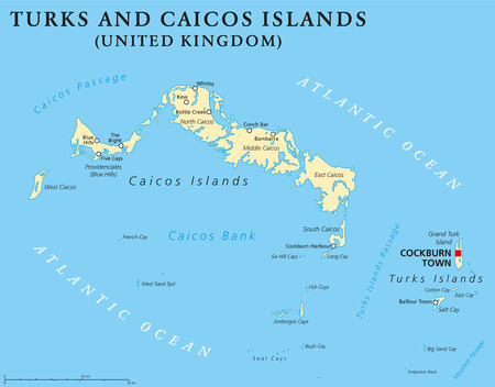 labeling: Turks and Caicos Islands political map with capital Cockburn Town. British Overseas Territory with two groups of tropical islands in the Lucayan Archipelago. English labeling and scaling.