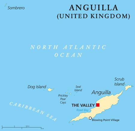 overseas: Anguila Mapa Pol�tico de capital El Valle. Territorio brit�nico de ultramar en el Caribe m�s septentrional de las Islas de Sotavento en las Antillas Menores. Etiquetado y escalado Ingl�s. Ilustraci�n.