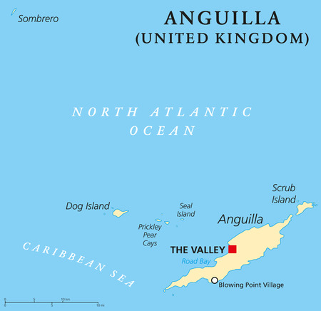 antilles: Anguilla Political Map with capital The Valley. British Overseas Territory in the Caribbean most northerly of the Leeward Islands in the Lesser Antilles. English labeling and scaling. Illustration.