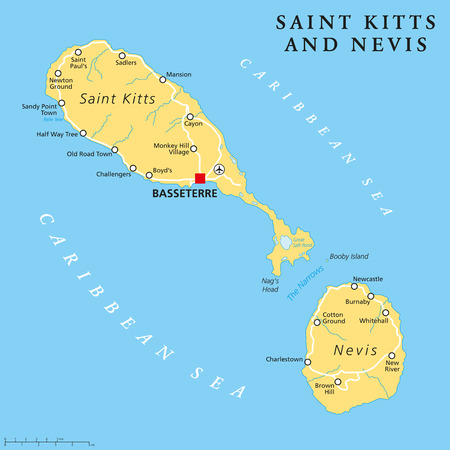 coastlines: Saint Kitts and Nevis political map with capital Basseterre is a twoisland country in the West Indies located in the Leeward Islands. English labeling and scaling. Illustration. Illustration