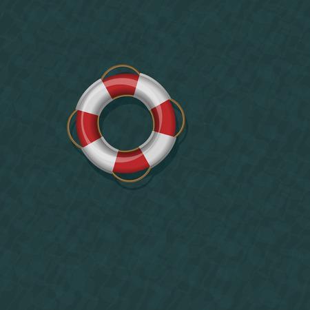 greenish: Lifebelt floating on dark greenish blue cold ocean water. Vector illustration.