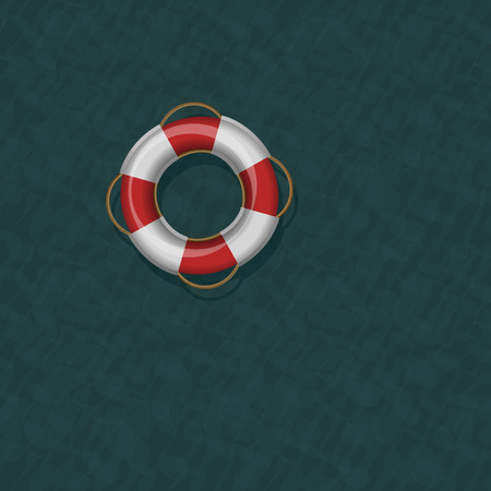 floating in water: Lifebelt floating on dark greenish blue cold ocean water. Vector illustration.