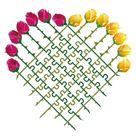 stalks: Roses that shape a heart and a jigsaw puzzle with their thorny stalks as a symbol for matters of love. Isolated vector illustration on white background.
