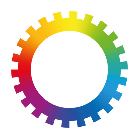 Gear cog wheel  rainbow colored circle  isolated vector illustration on white background.