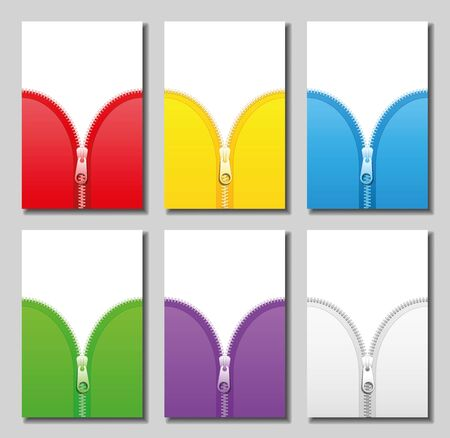 unzipped: Zippers in six different colors  red yellow blue green purple and white  to be zipped and unzipped  vector illustration.