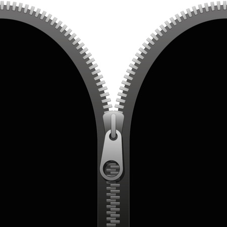 unzipped: Zipper on a black cloth that is going to be unzipped  isolated vector illustration on white background. Illustration