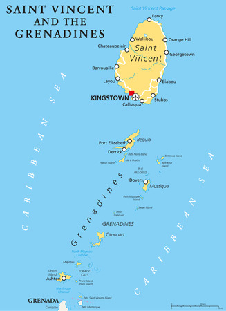 grenadines: Saint Vincent and the Grenadines political map with capital Kingstown. Island country in the Lesser Antilles Island arc. English labeling and scaling. Illustration.