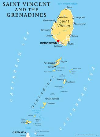 mapa politico: San Vicente y las Granadinas mapa político con un capital de Kingstown. País insular en el Lesser Antilles arco isla. Etiquetado y escalado Inglés. Ilustración.
