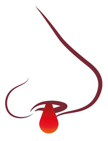 nariz roja: Nariz sangra ilustración estética de epistaxis vector aislados sobre fondo blanco. Vectores