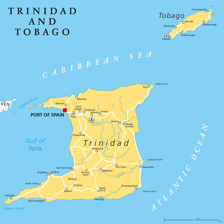 windward: Trinidad and Tobago political map with capital Port of Spain. Twin island country in the Windward Islands and Lesser Antilles. English labeling and scaling. Illustration. Illustration