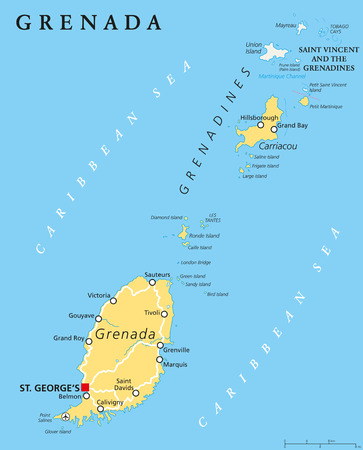 labeling: Grenada political map with capital St. Georges. Island Country and part of the Windward Islands and Lesser Antilles in the Caribbean Sea. English labeling and scaling. Illustration.