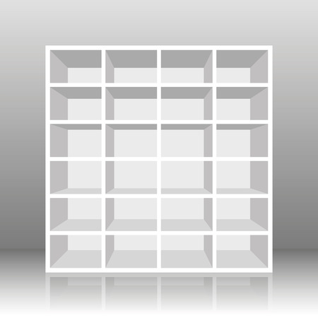 cubby: White empty rack or bookshelf with twenty four cubbyholes. Vector illustration on gray gradient background.