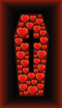 loveless: Coffin with hearts sinking in a grave as a symbol for love sorrow tragedy and other problems related to heart issues. Vector illustration on black and red gradient background.