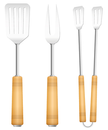 grilling: Bbq tools with wooden handle  charming vintage barbecue utensil. Isolated vector illustration on white background.