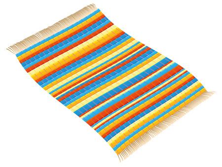 Vod deken, vintage, kleurrijke en vliegen als een magisch tapijt. Geïsoleerde vector illustratie op witte achtergrond.
