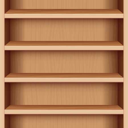 Book case with wood grain - can be endlessly extended upwards and downwards. Vector illustration. Illustration
