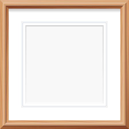 dřevěný: Dřevěný rám s náměstí mat a francouzské linek. Vektorové ilustrace.