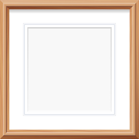 Wooden frame with square mat and french lines. Vector illustration. Çizim