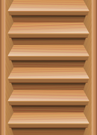 staircase: Endless staircase, natural wood look, seamless expandable upstairs and downstairs. Vector illustration.