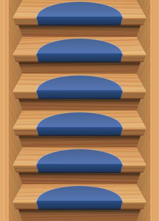 endlos: Holztreppen mit blauen Matten - endlos Verbrauchs nach oben und unten. Vektor-Illustration.