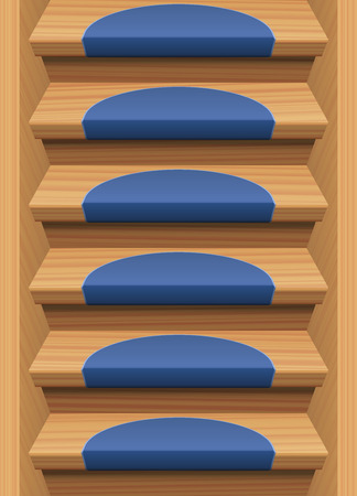 downwards: Wooden stairs with blue mats - endlessly expendable upwards and downwards. Vector illustration.