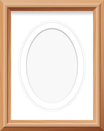 upright format: Wooden picture frame with upright oval mat and blue french lines. Vector illustration.