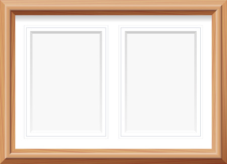 Horizontal picture frame with two portrait format mats for two pictures. Vector illustration.