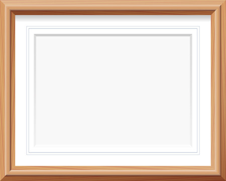 Horizontal wooden picture frame with mat and french lines. Vector illustration.