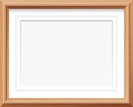 Horizontal Holz-Bilderrahmen mit Matte und französisch Linien. Vektor-Illustration. Standard-Bild - 42236214