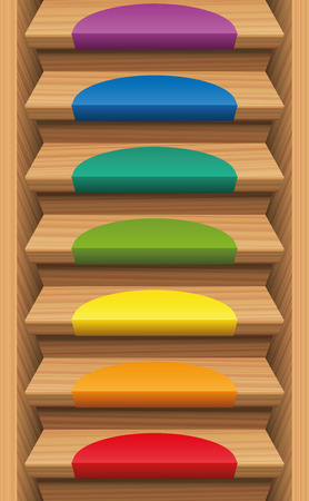 downwards: Staircase with seven rainbow colored mats - endlessly expendable upwards and downwards. Vector illustration.