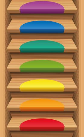 endlos: Treppe mit sieben Regenbogen farbige Matten - endlos Verbrauchs nach oben und unten. Vektor-Illustration.