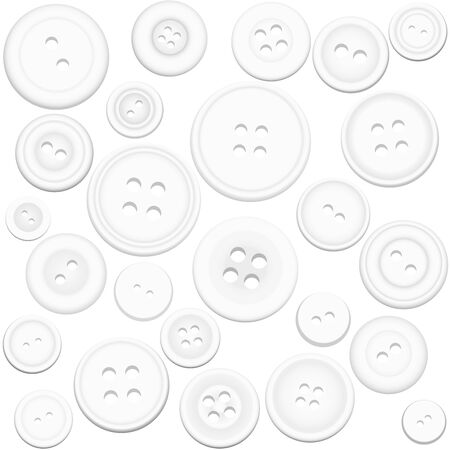 buttons: White buttons collection - isolated vector illustration on white background.