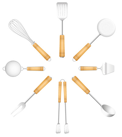 Kitchen tools in a circle - skimmer, strainer, spatula, fork, cheese slicer, tongs, sieve, whisk. Isolated vector illustration on white background. Illustration