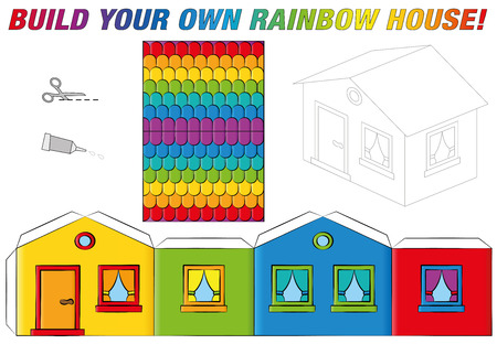colored paper: Paper model of a funny rainbow colored house. Isolated vector illustration on white background. Illustration