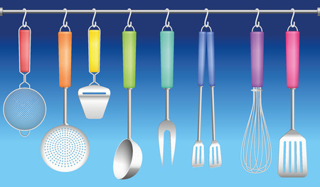 tongs: Colorful kitchen tools on a hanger - sieve, skimmer, cheese slicer, ladle, fork, tongs, whisk and spatula. Vector illustration on blue gradient background.