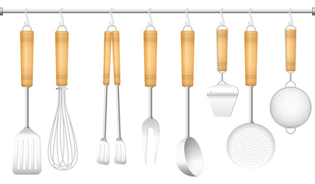 whisk: Kitchen tools on a hanger - spatula, whisk, tongs, fork, ladle, cheese slicer, skimmer and sieve. Isolated vector illustration on white background.