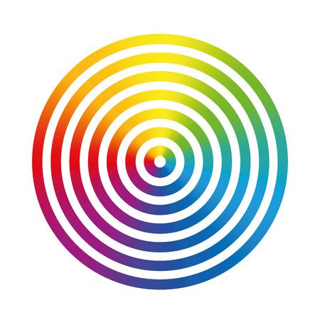 cicla: Siete de gradiente arco iris de anillos de colores de diferente tamaño telescópicamente entre sí. Ilustración vectorial aislados en fondo blanco.