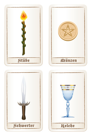 labeling: Tarot card colors or elements - suit of wands, suit of pentacles, suit of swords and suit of cups. Isolated vector illustration on white background. GERMAN LABELING! Illustration