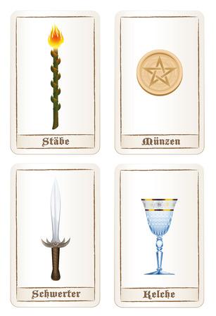 Tarotkaart kleuren of elementen - staven, pak van pentacles, pak van zwaarden en pak van de cups. Geïsoleerde vector illustratie op een witte achtergrond. DUITSE LABELING!