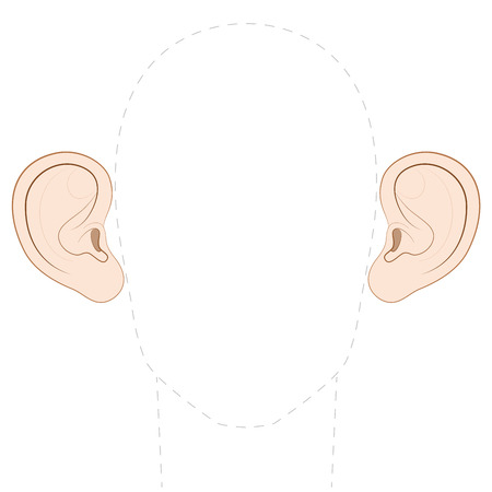 Big protruding ears with empty space between them to insert any photo. Isolated vector illustration on white background. Illustration