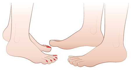 toenail: Barefoot love couples feet. Isolated  illustration on white background. Illustration