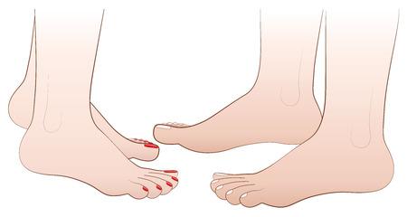 Barefoot love couples feet. Isolated  illustration on white background. Illustration