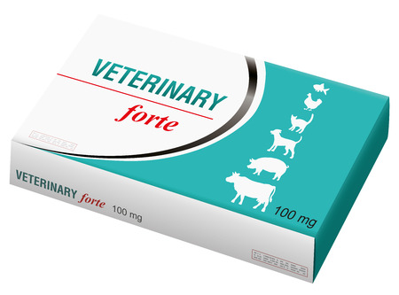 pharmaceutical industry: Veterinary medicine named VETERINARY FORTE with silhouettes of pets as brand on the box. It is a medical fake product. Isolated  on white background. Illustration