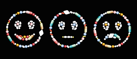 frowning: Pills, capsules and tablets, that form a smiling, a neutral and a frowning face, as a positive, neutral and negative symbol concerning medical and pharmaceutical issues.  On black background. Illustration
