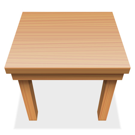kitchen furniture: Wooden table - perspective view from above - isolated  illustration on white background.